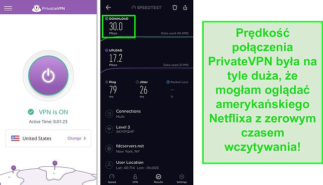 Zrzut ekranu PrivateVPN podłączonego do serwera w USA i testu prędkości Ookla