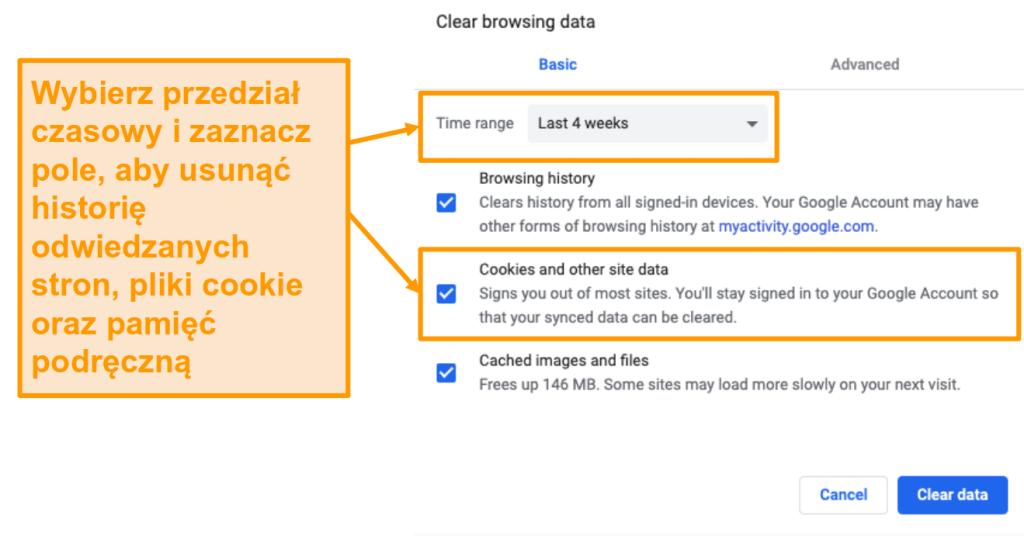 Zrzut ekranu przedstawiający czyszczenie pamięci podręcznej i historię przeglądania w Google Chrome