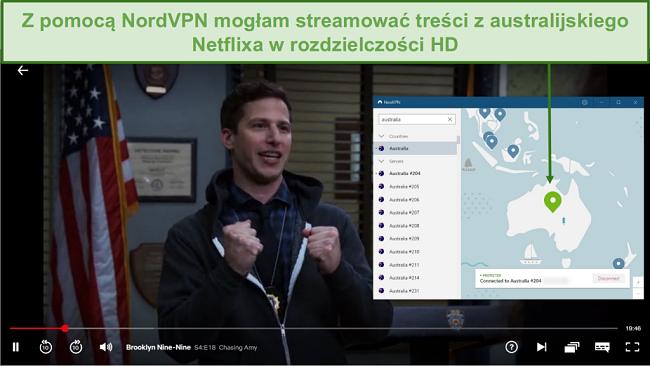 Zrzut ekranu przedstawiający NordVPN odblokowujący Netflix Australia podczas grania w Brooklyn Nine-Nine