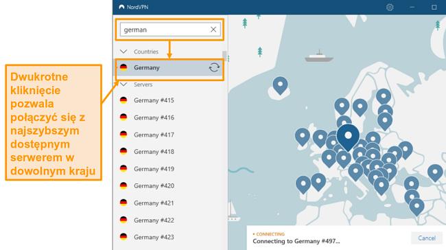Zrzut ekranu wyboru serwera NordVPN Niemcy
