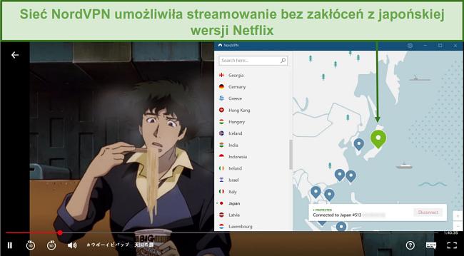 Zrzut ekranu przedstawiający NordVPN odblokowujący Netflix Japan podczas gry w Cowboy Bebop