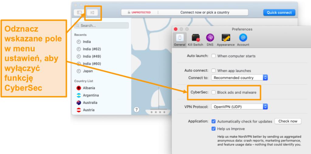 Zrzut ekranu przedstawiający wyłączenie CyberSec w aplikacji NordVPN