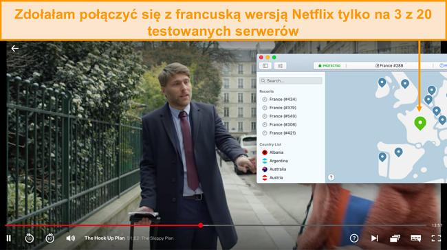 Zrzut ekranu przedstawiający NordVPN odblokowujący Netflix France i przesyłający strumieniowo The Hook Up Plan