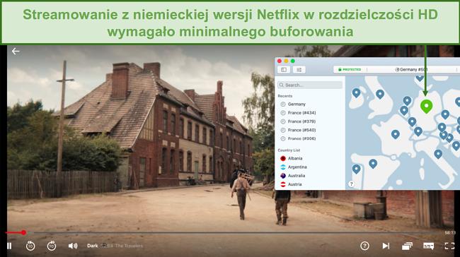 Zrzut ekranu przedstawiający NordVPN odblokowujący Netflix Germany podczas grania w Dark