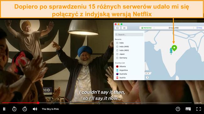 Zrzut ekranu przedstawiający streaming Netflix India z NordVPN