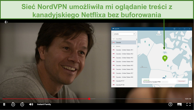 Zrzut ekranu przedstawiający NordVPN odblokowujący Netflix Canada podczas grania w Instant Family