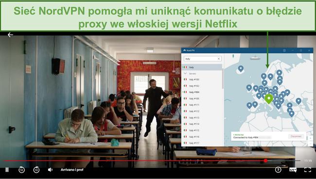 Zrzut ekranu przedstawiający NordVPN odblokowujący Netflix Włochy podczas grania w Arrivano i Prof