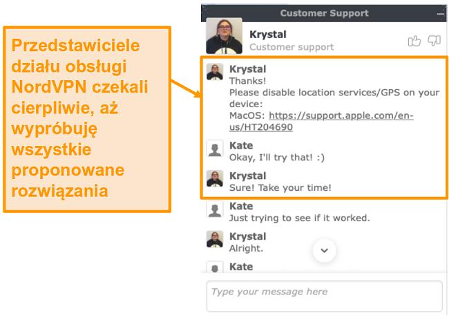 Zrzut ekranu przedstawiający funkcję czatu na żywo w obsłudze klienta NordVPN