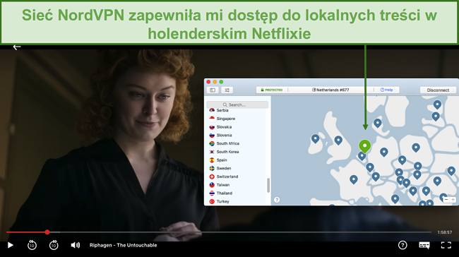 Zrzut ekranu przedstawiający lokalne przesyłanie strumieniowe treści na Netflix Holandia za pomocą NordVPN