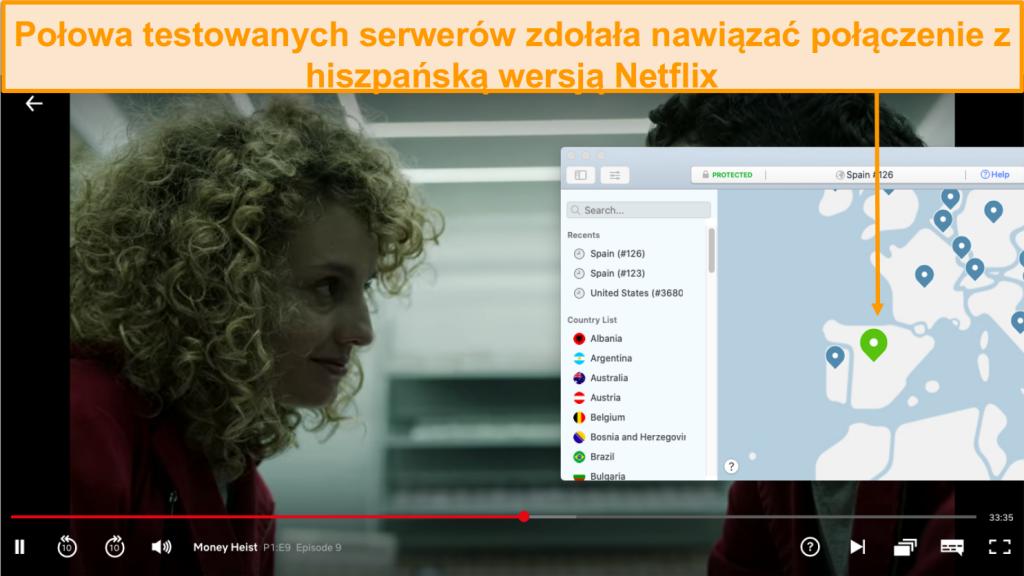 Zrzut ekranu przedstawiający NordVPN odblokowujący Netflix Hiszpania