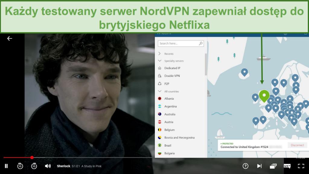 66/5000 Zrzut ekranu przedstawiający NordVPN odblokowujący Netflix UK podczas gry w Sherlocka