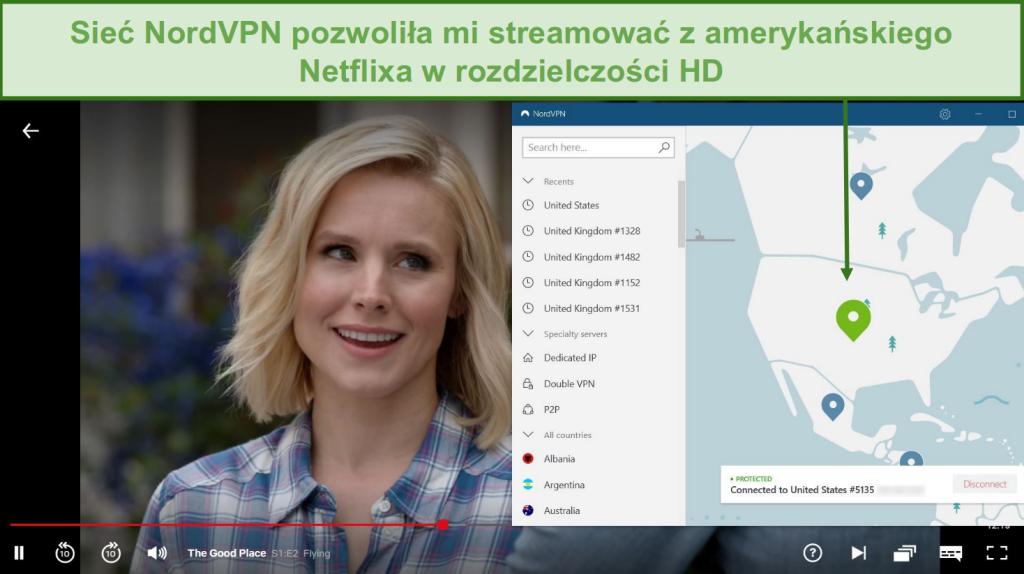 Zrzut ekranu przedstawiający transmisję strumieniową The Good Place w serwisie Netflix z NordVPN połączonym z serwerem w USA