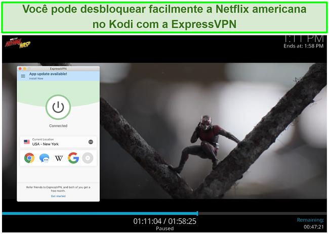 captura de tela de Ant man vs Wasp no Netflix US através do Kodi