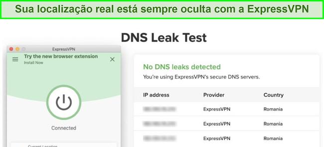 captura de tela do teste de vazamento de DNS bem-sucedido usando ExpressVPN para Kodi