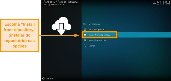 captura de tela de como instalar o complemento oficial do kodi etapa quatro, clique em instalar do repositório