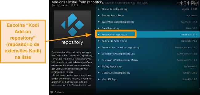 captura de tela de como instalar o complemento oficial do kodi, etapa cinco, clique no complemento do Kodi no repositório da lista