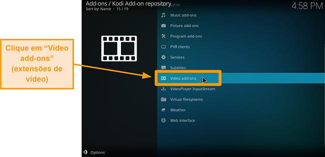 captura de tela de como instalar addons oficiais do kodi addon step six click addons de vídeo