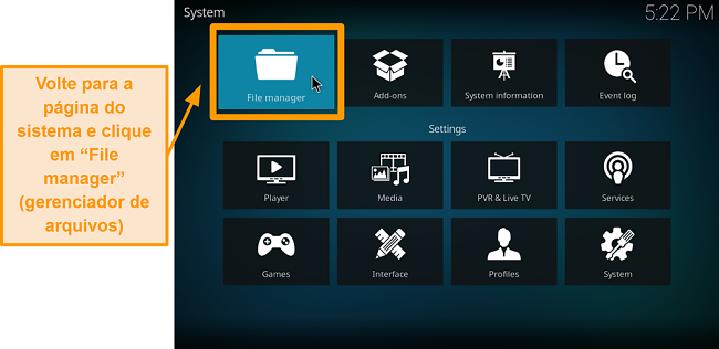 captura de tela como instalar o complemento Kodi de terceiros, etapa 5, clique no gerenciador de arquivos