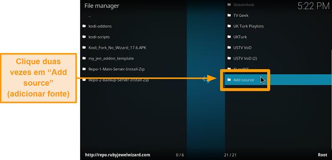 captura de tela como instalar o complemento Kodi de terceiros, etapa 6, clique em adicionar fonte