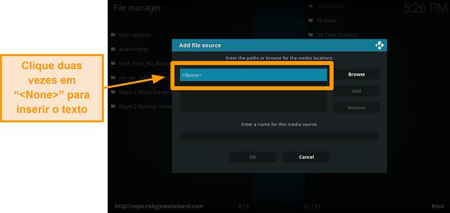 captura de tela como instalar o complemento kodi de terceiros, passo 7, clique duas vezes em nenhum