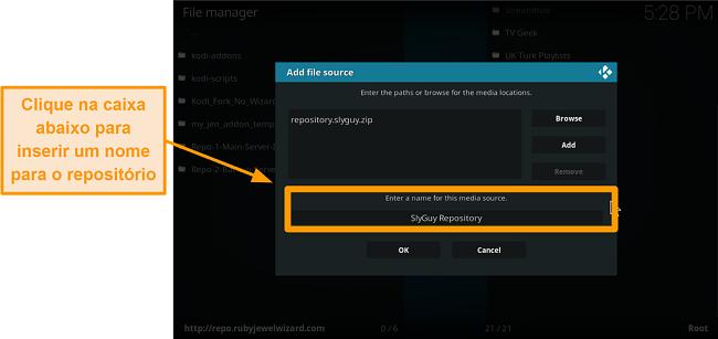 captura de tela como instalar o complemento kodi de terceiros, etapa 9, digite o nome do repo