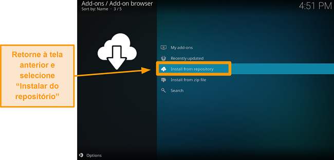 captura de tela como instalar o complemento kodi de terceiros, passo 17, clique em instalar do repositório