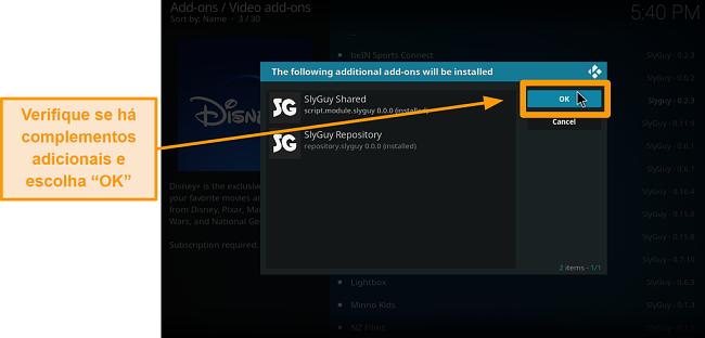 captura de tela como instalar o complemento kodi de terceiros, passo 18, verifique os complementos extras e clique em ok