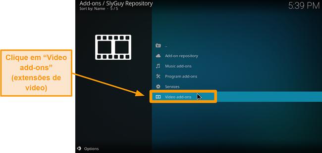 captura de tela como instalar addon de terceiros do Kodi passo 20 clique em addons de vídeo