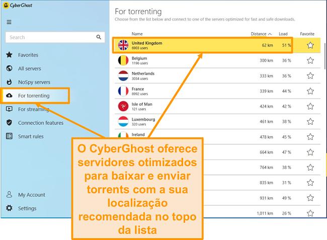 Screenshot dos servidores otimizados P2P da CyberGhost