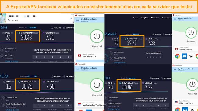 Screenshot da comparação de velocidade entre diferentes servidores ExpressVPN