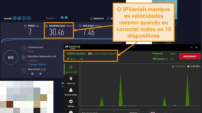 Screenshot de um teste de velocidade com ligação IPVanish
