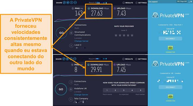 Screenshot da comparação de velocidade PrivateVPN