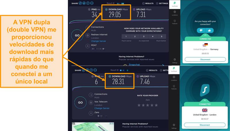 Screenshot da comparação de velocidade surfshak