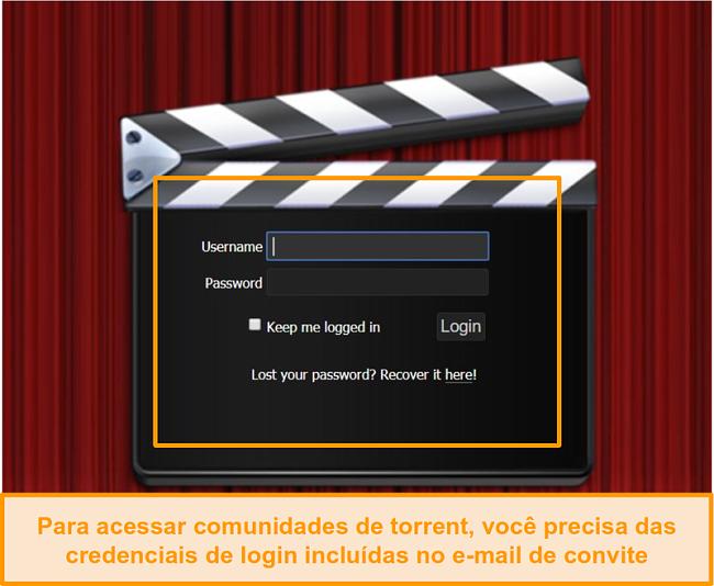 Screenshot da página de login passThePopcorn