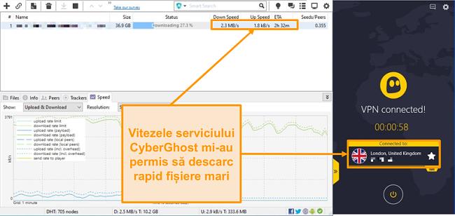 Captură de ecran cu BitTorrent descărcarea unui fișier torrent