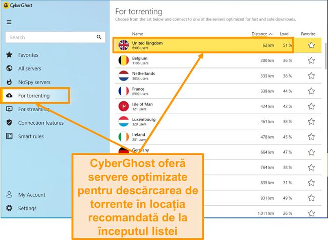 Captură de ecran cu serverele optimizate P2P de pe CyberGhost