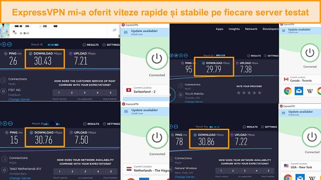 Captură de ecran cu compararea vitezei între diferite servere ExpressVPN