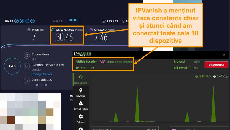 Captură de ecran a unui test de viteză cu conexiune IPVanish