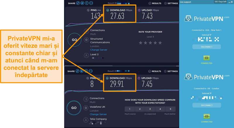 Captură de ecran cu compararea vitezei PrivateVPN