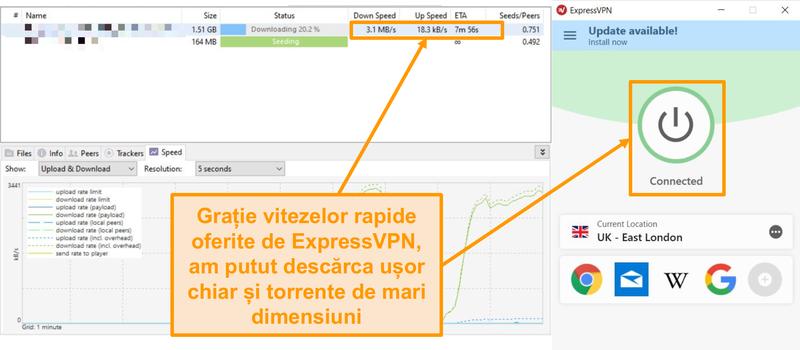 Screenshot de downloading torrent dosar cu ExpressVPN unire a insinta