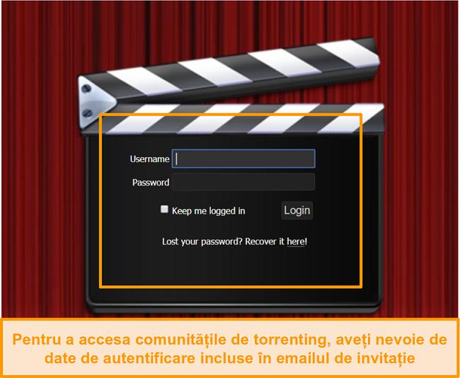 Captură de ecran cu pagina de conectare PassThePopcorn