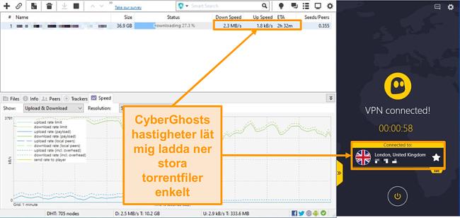 Skärmbild av BitTorrent som laddar ner en torrent-fil