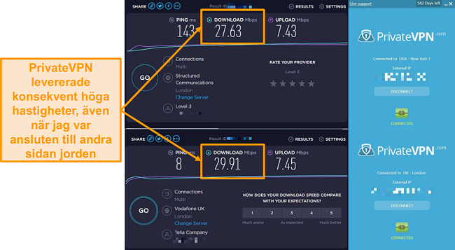 Skärmbild av jämförelse med PrivateVPN-hastighet