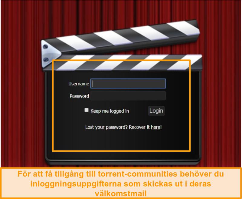 Skärmbild av PassThePopcorn inloggningssida