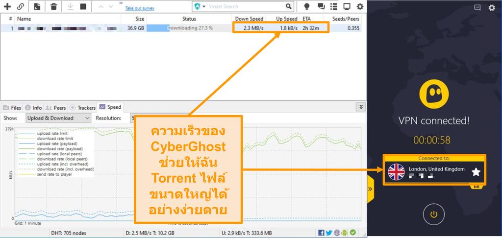 ภาพหน้าจอของ BitTorrent ดาวน์โหลดไฟล์ทอร์เรนต์