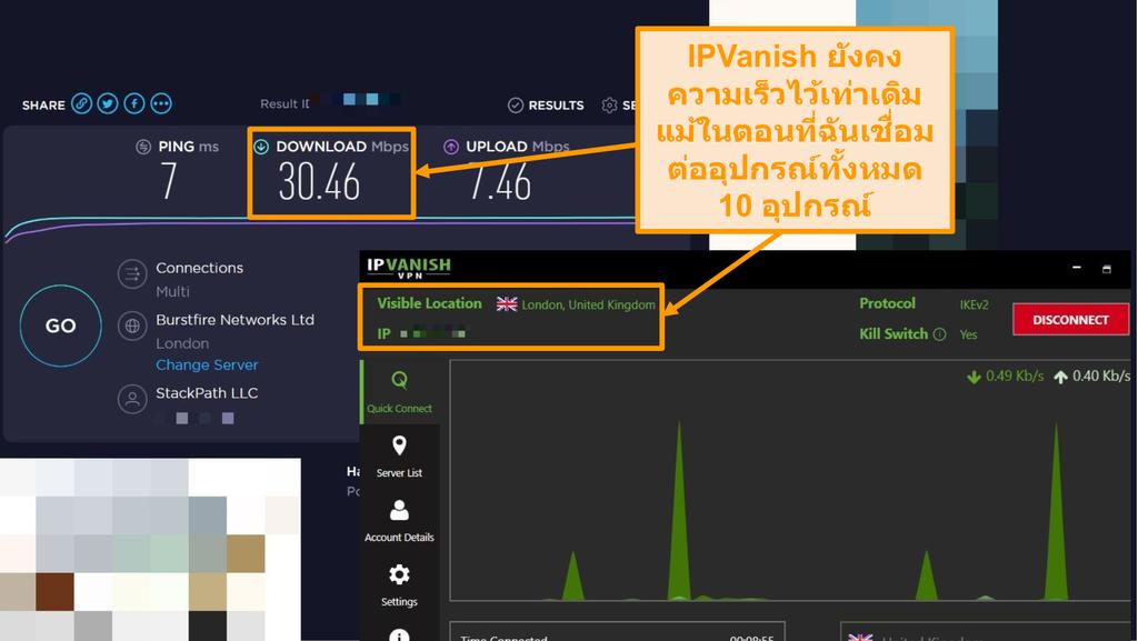ภาพหน้าจอของการทดสอบความเร็วด้วยการเชื่อมต่อ IPVanish