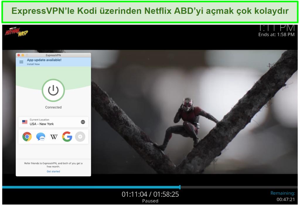 Kodi aracılığıyla Netflix ABD'de Ant man vs Wasp ekran görüntüsü