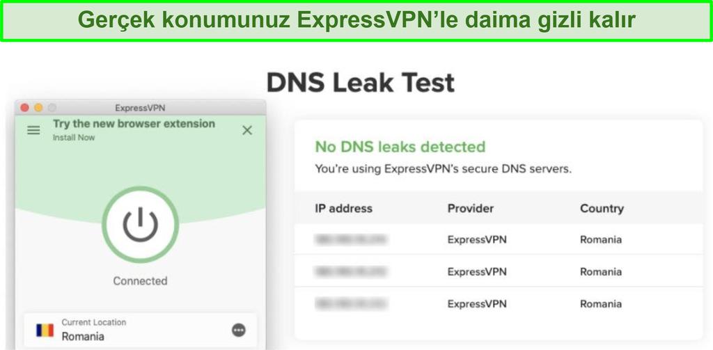 Kodi için ExpressVPN kullanarak başarılı DNS sızıntı testinin ekran görüntüsü