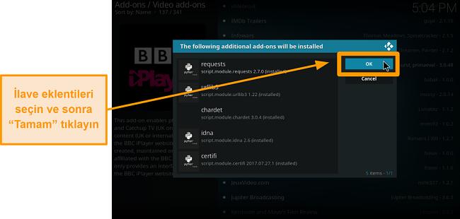 resmi kodi eklentisinin nasıl yükleneceğinin ekran görüntüsü dokuzuncu adım ek eklentileri kontrol edin ve ardından Tamam'a tıklayın