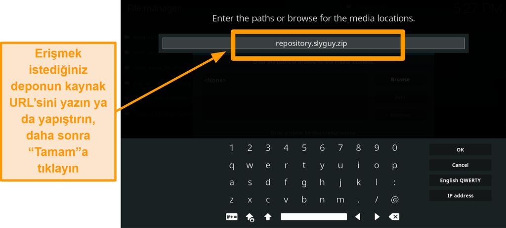 ekran görüntüsü üçüncü taraf kodi eklentisi nasıl kurulur adım 8 kaynak url yazın